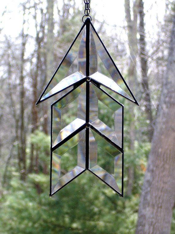 Tribal chevron arrow glass suncatcher southwestern geometric modern window art