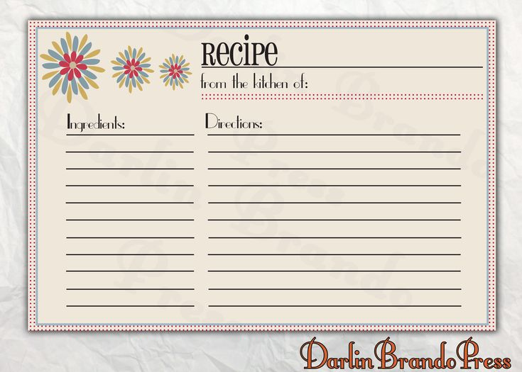 Best Recipe Card Images On   Free Printable