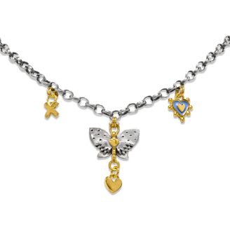 """Spotty Winged Butterfly necklace.  16"""" medium belcher necklace with spotty winged butterfly & little heart drop, kiss & cornflower blue enamel heart.  Sophie Harley, Beautiful Designer PM5 from the Papillion Rose collection."""