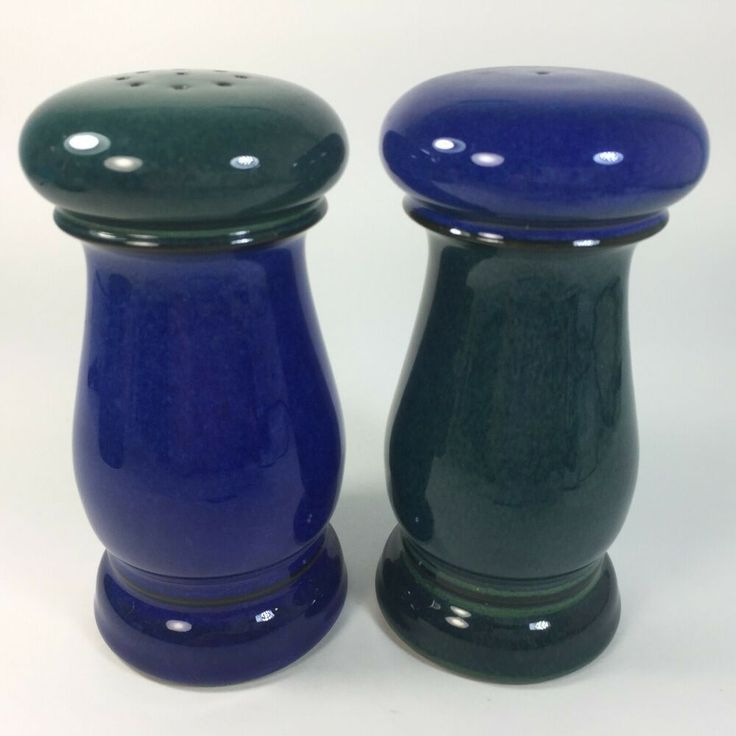 Denby Harlequin Salt And Pepper Shakers Blue Green Langley