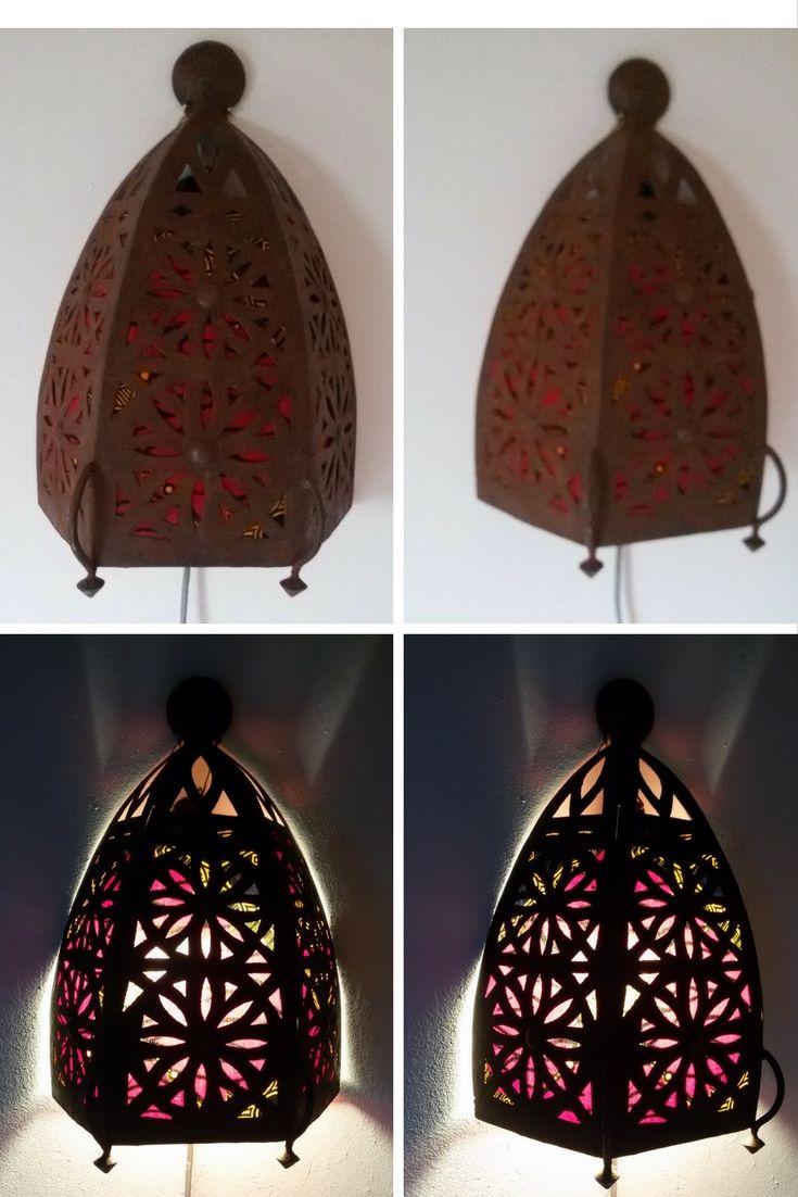 Marokkaanse lamp aan de binnenkant beplakt met restjes stof