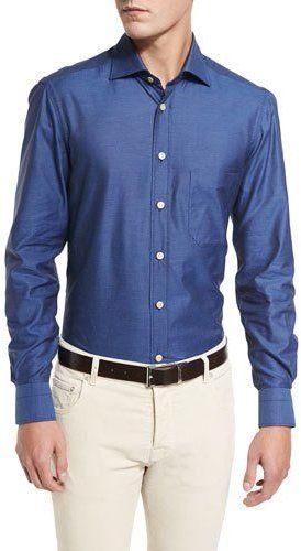 Kiton Royal Oxford Shirt, Blue