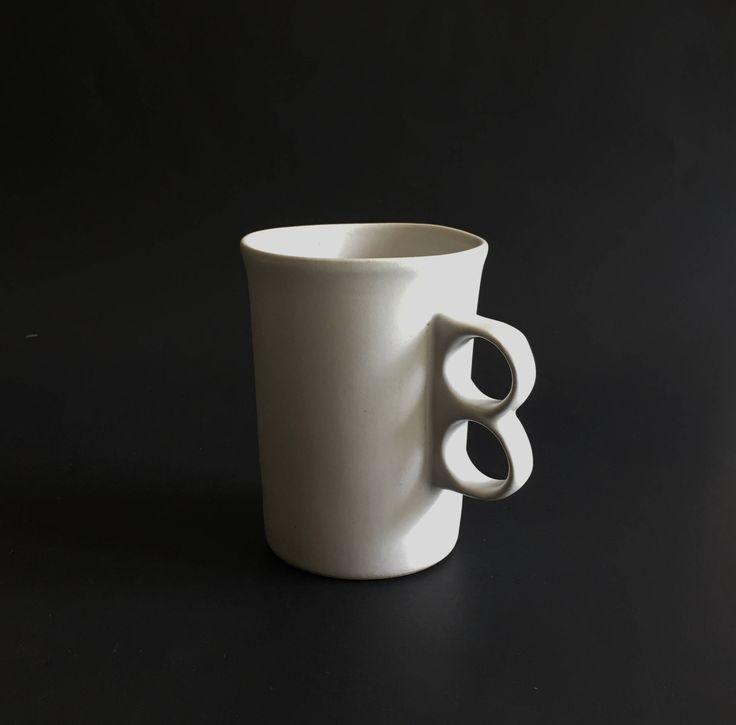Bennington Pottery White Trigger Mug Coffee Cup by EastWestVintage1 on Etsy