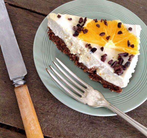Orange mousse tart. Raw vegan cake