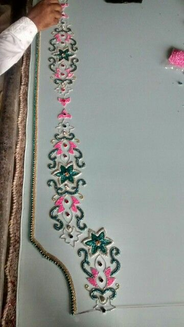 Green and pink journey contrast caftan in progress
