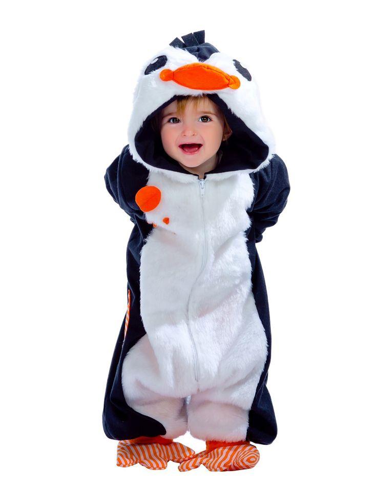 Costume da pinguino per neonato - Premium: Questo travestimento da pinguino per neonato è composto da una tutina con cappuccio e due babbucce.La tuta è realizzata in un tessuto morbido e gradevole al tatto. Essa si abbottona con...