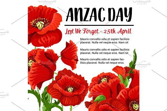 Anzac Day vector remembrance card red poppy design. Text #anzac