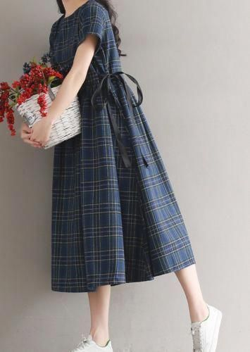 Frauen locker über plus Size Checks anpassen Taille String Kleid lange Maxi Tunika …