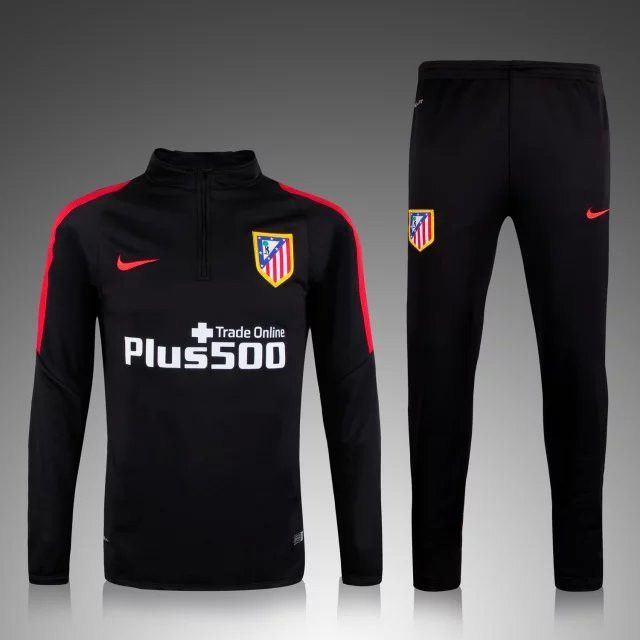 equipement equipe de france Nouveau Survetement football de foot Atletico Madrid Noir 2015 2016