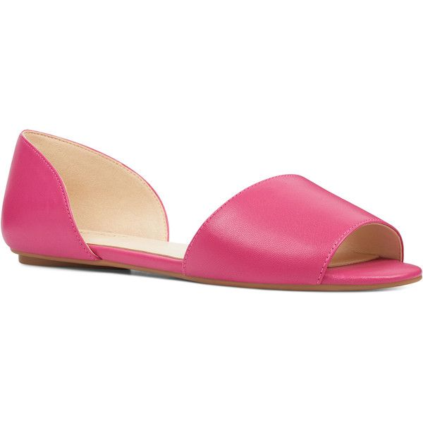 Nine West Broken d'Orsay Flats ($69) ❤ liked on Polyvore featuring shoes, flats, pink, flat d orsay shoes, flat pump shoes, cocktail shoes, nine west shoes and evening flats