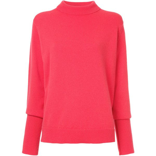 Casey Casey roll neck relaxed fit jumper ($1,386) ❤ liked on Polyvore featuring tops, sweaters, rollneck sweaters, red sweater, roll neck jumper, jumper tops and red jumper