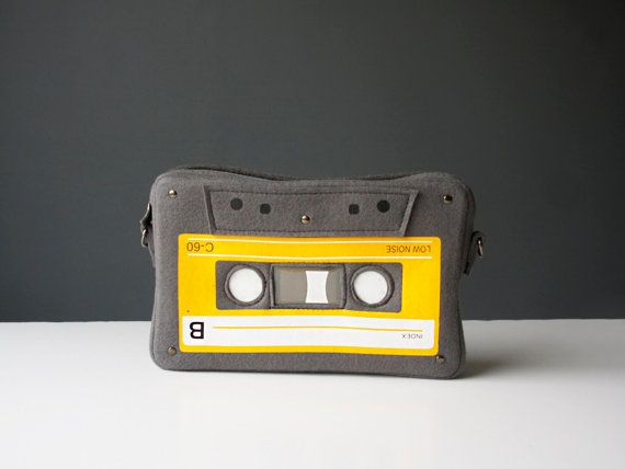 Compact Cassette Felt Bag Grey and Yellow