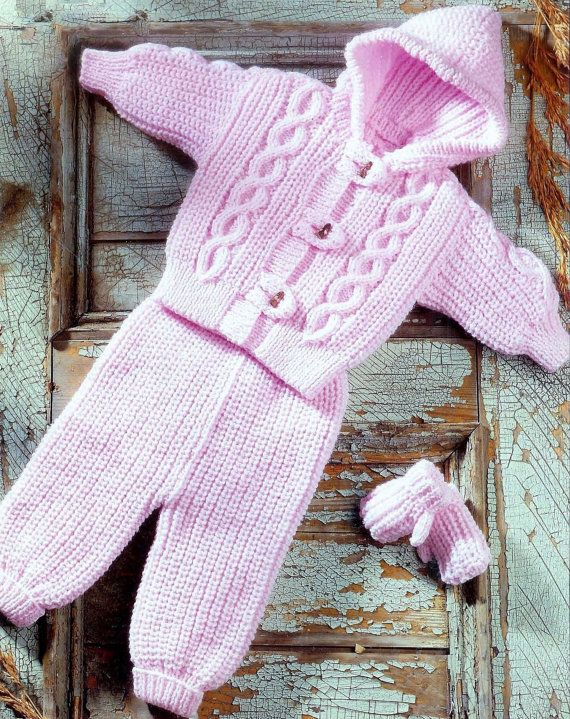 Baby Hooded Jacket and  trousers & Mittens in Aran by CheapKnits4u, £1.00