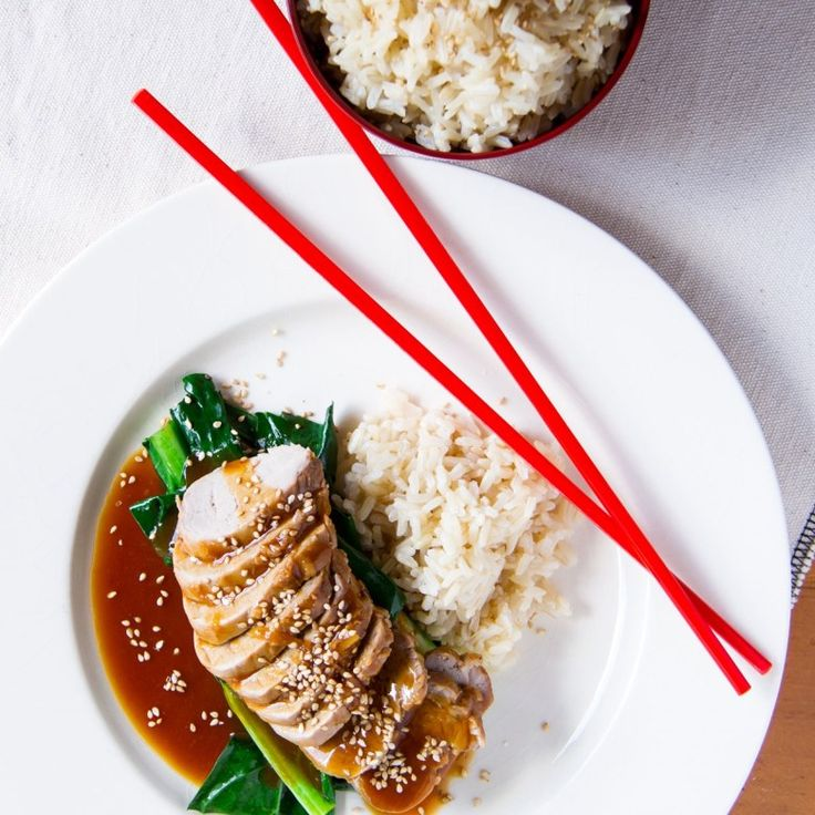 STICKY HOISIN GINGER PORK WITH RICE AND ASIAN GREENS - Nadia Lim