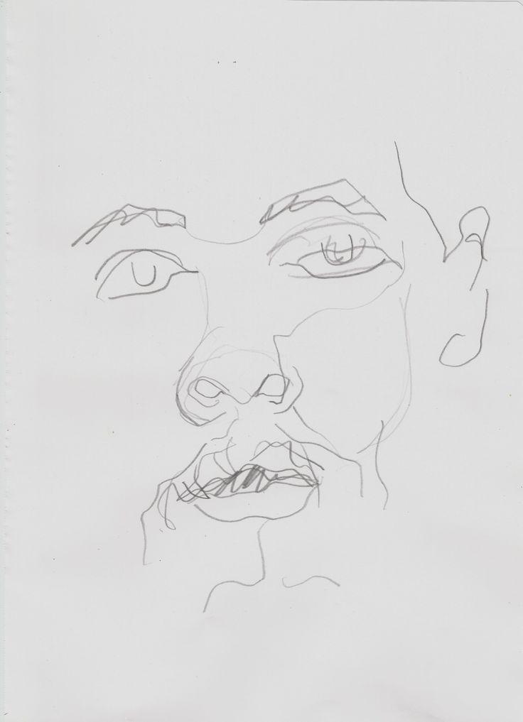 """1991995: """" Retratos em desenho cego Grafite s/ papel Tamanho A4 """""""