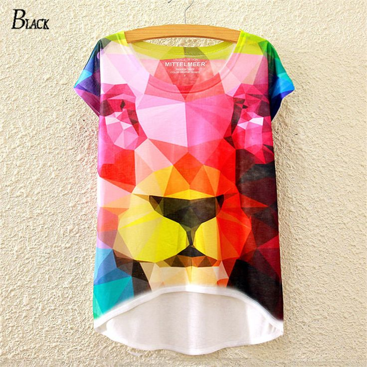 >> Click to Buy << BLACK Brand New 2016 Hot Sale Print Animal Lion Novelty T-shirt For Women Batwing Short Sleeved Tshirts Top Harajuku Clothing #Affiliate