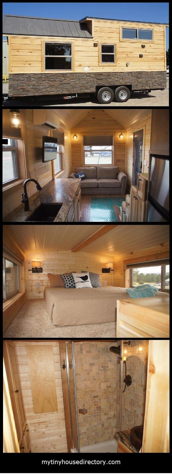 This Beautiful Tiny Home has Tuscany leather looking granite c ounter tops, hickory cabinets and copper sinks. It includes a solar powe...