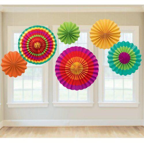 $6.16 Fiesta Paper Fan Decorations. Includes (6) assorted paper fans.