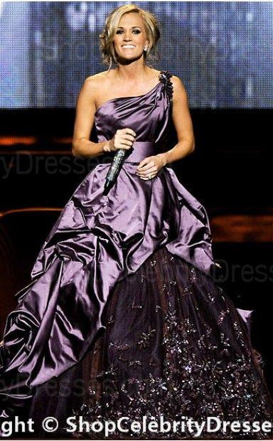 Carrie Underwood-2010 Ball Gown Floor-length Satin CMA Awards Dresses(SCD199)