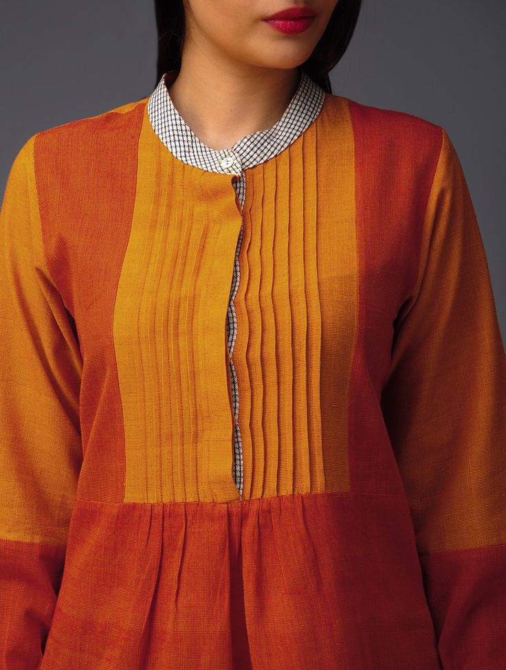 Orange Yoke Pintuck Organic Cotton Tunic #handwoven #vibrant #natural dye
