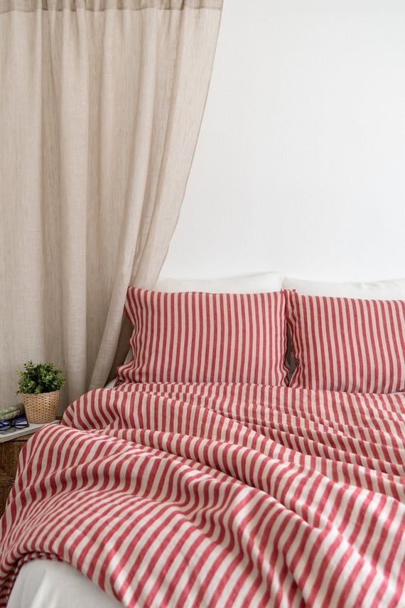 Red Striped Linen Bedding Set From Mid Weight 100 Linen King Size Bedding Set Bed Linen Sets Red Bedding King Size Bedding Sets