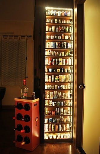Shot glass display case. Maybe I should do this one day considering how many shot glasses I used to collect.