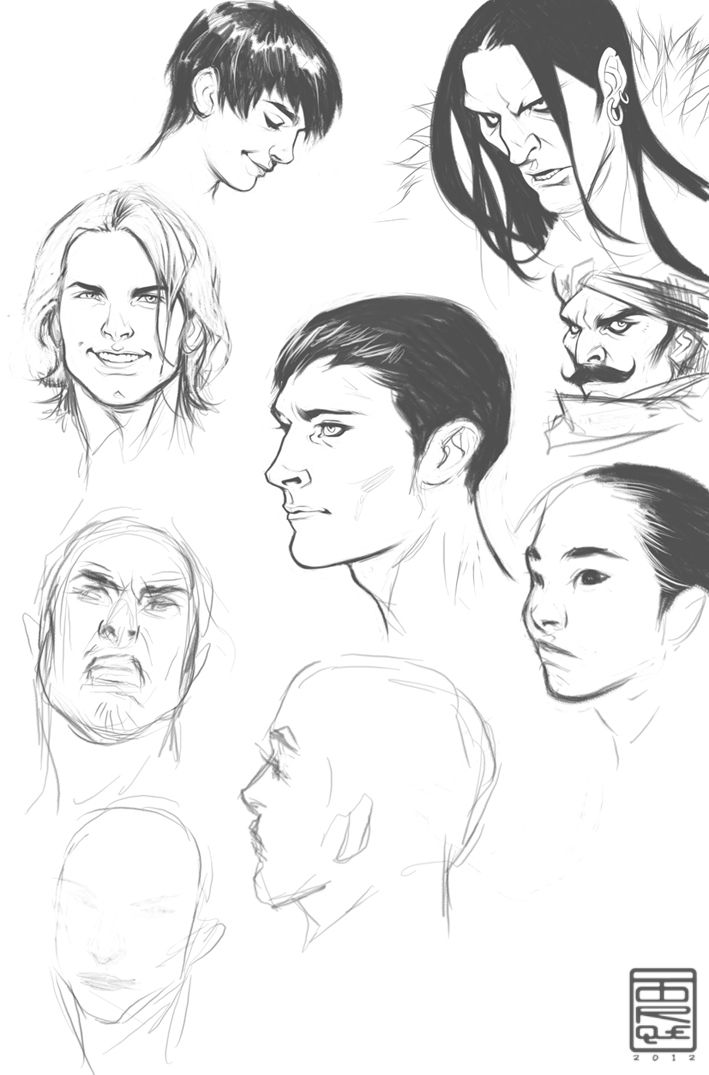 Male faces Study by *TorqueArtStudio on deviantART. This is great, because I can draw female faces pretty well, but male? Forget it.