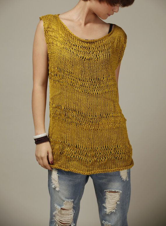 Hand Knitted sweater Silk Cotton Tunic in Mustard yellow oversized