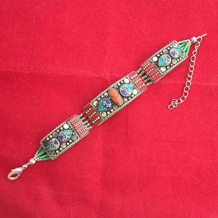 Bracelet Handmade Tibetan Silver Turquoise Lapis Coral Tribal Women Jewellery