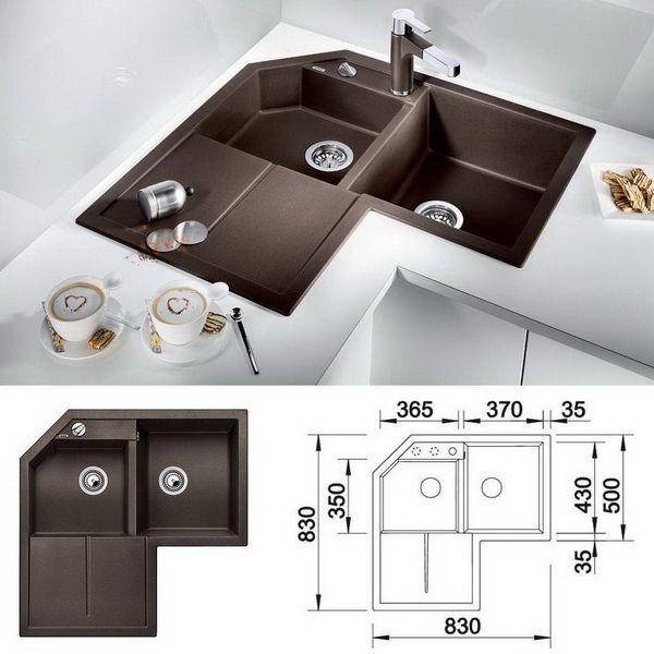 угловая мойка Blanco Metra 9E для кухни размеры для установки в тумбу