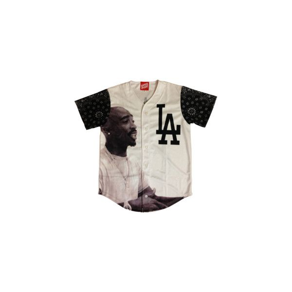 Simple Splashy Tupac Baseball Jersey Pre-Order ($50) ❤ liked on Polyvore featuring tops, shirts, jerseys, t-shirts, jersey shirts, baseball jersey shirts, baseball top, shirts & tops and jersey knit shirts
