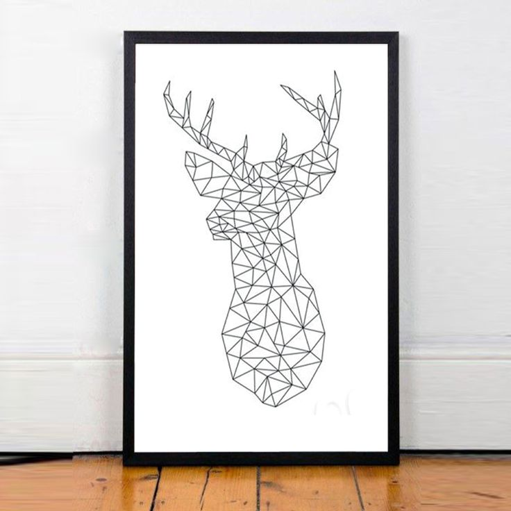 Geometrical Deer Spray Printing Modern Home Decor Animals Unframed Canvas Poster Wall Decoration