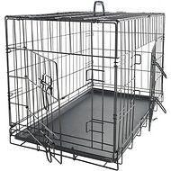 OxGord Double-Door Folding Heavy-Duty Wire Dog Crate, 24-in