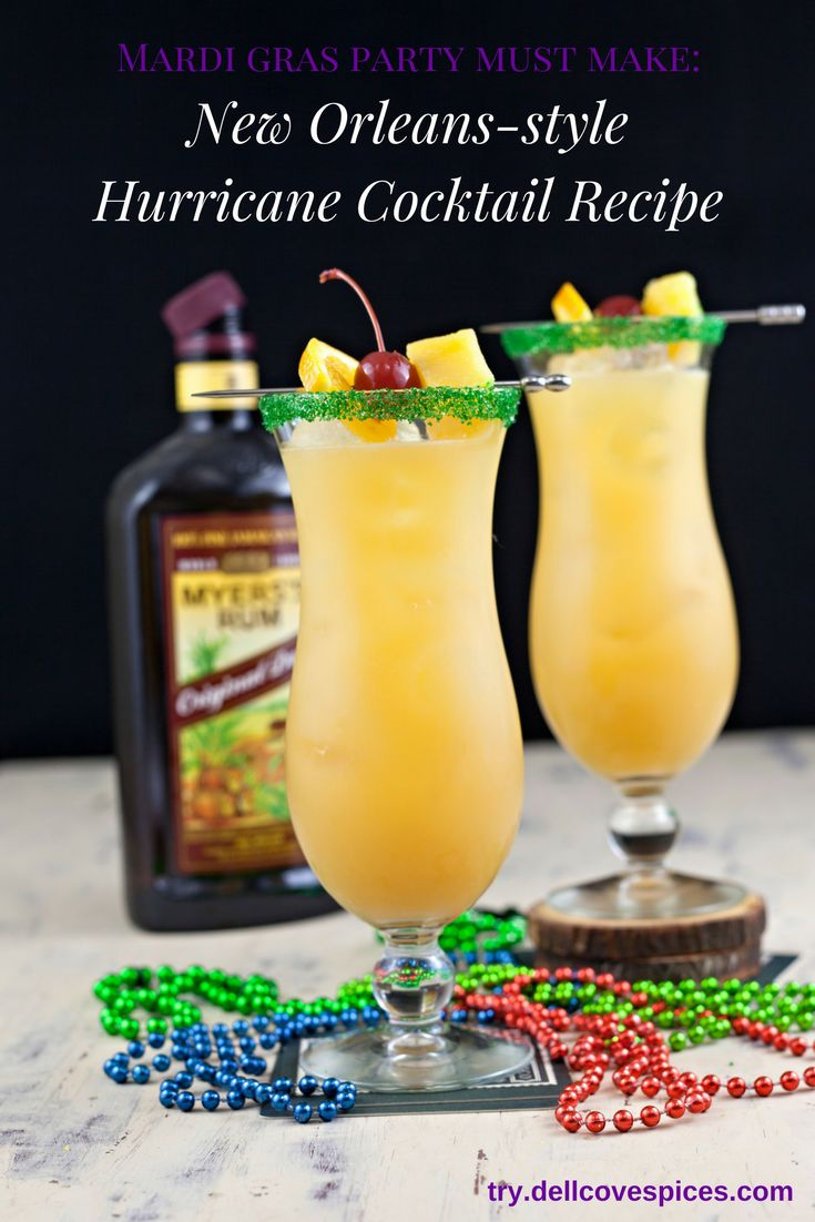 Forget the Pat O'Brien's Hurricane cocktail. This New Orleans-style drink recipe is sweet, not cloying. A Mardi Gras party must! via @dellcovespices