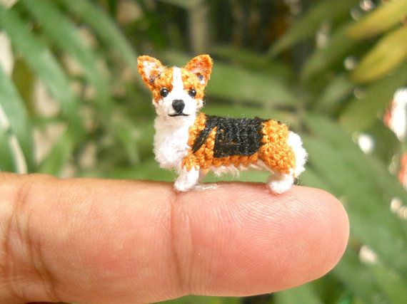 Mini Pembroke Welsh Corgi - Amigurumi Crochet Tiny Dog Stuff Animal - Made to Order