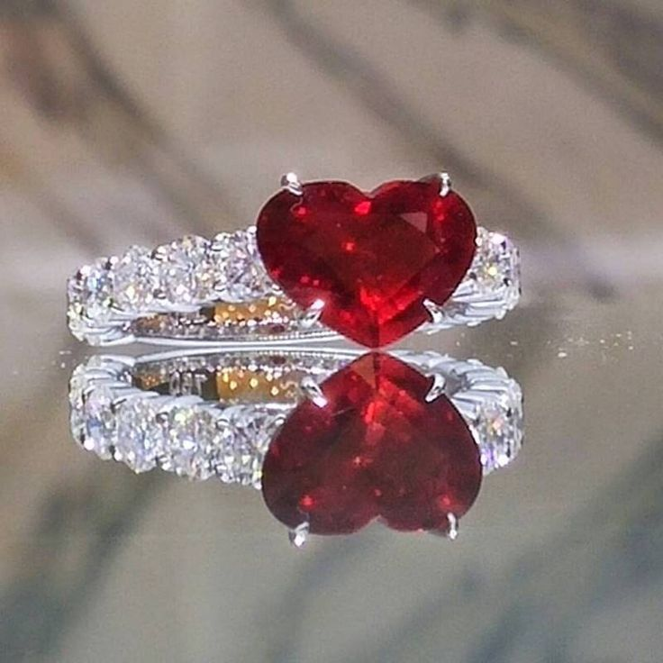 Heart Shaped Ruby Ring