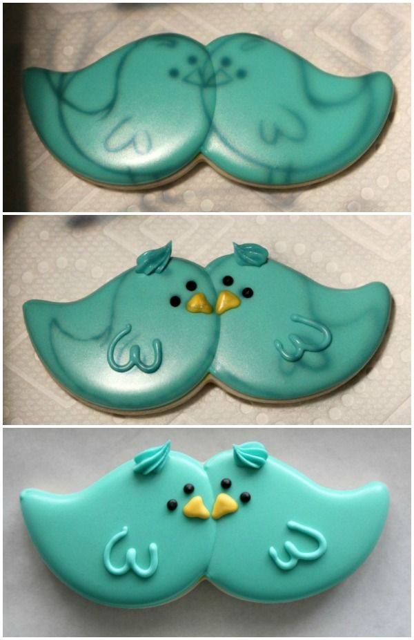 Blue Bird Cookie. This looks like it's used a moustache cookie cutter.