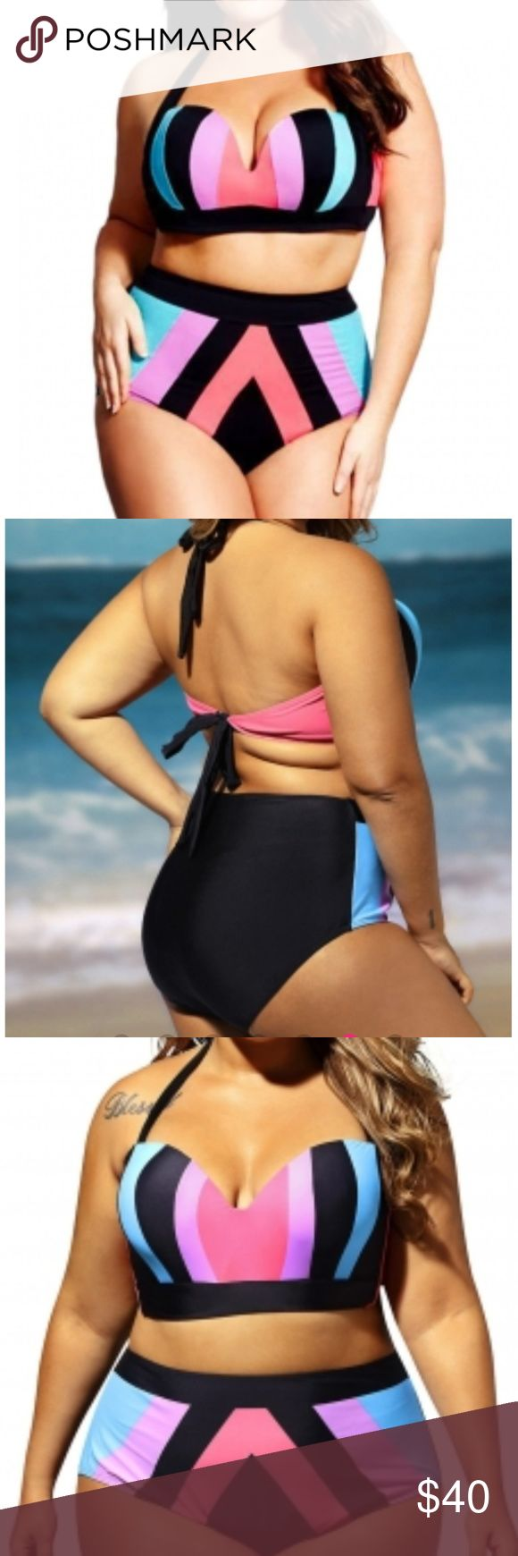 "Plus Size Strapped Color Splice Two Piece Swimwear Make waves this summer in our stunning Plus Size Strapped Color Splice Two Piece Swimwear. This sports luxe inspired design features a halter top, sexy plunge center front with soft contour lined cups that shape the bust, and a matching high-waisted bottom with wide elastic waistband. Carefully made of quality high-stretch fabric that smooths the body and slims the silhouette. Wired. High waist 20"" across Hips 23.5 across Medusa Swim Bikinis"