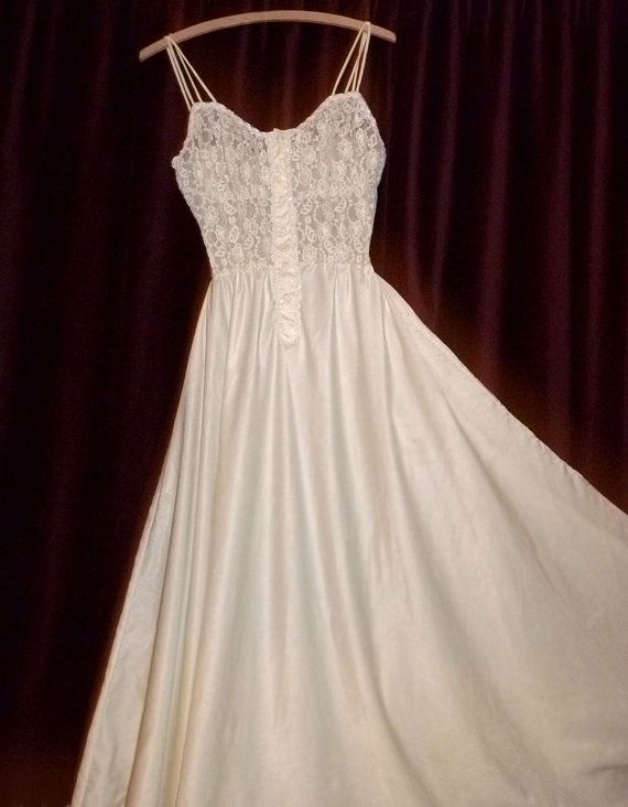 Long Vintage Nightgowns | Items similar to Eye-Ful Ivory SATIN Vintage Nightgown Long GOWN ...