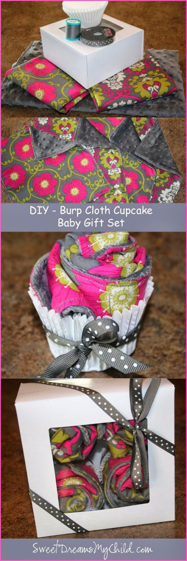 DIY Baby Gifts - Baby Burp Cloth Cupcake Tutorial - Homemade Baby Shower Presents and Creative, Cheap Gift Ideas for Boys and Girls - Unique Gifts for the Mom and Dad to Be - Blankets, Baskets, Burp Cloths and Easy No Sew Projects http://diyjoy.com/diy-baby-shower-gifts