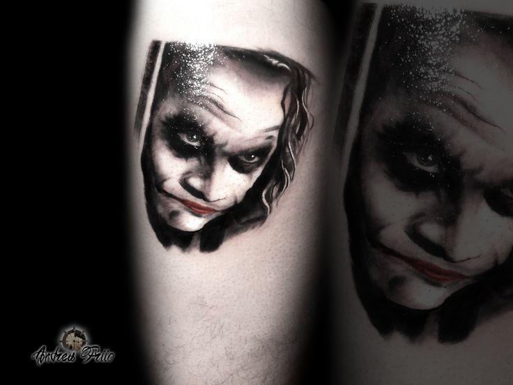 black and grey tattoo portrait tattoo jocker tattoo heath ledger