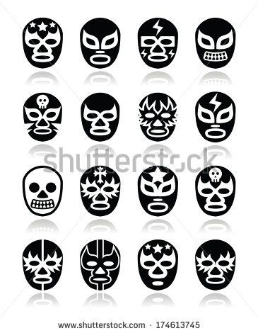 Lucha libre, luchador Mexican wrestling masks icons by RedKoala #mexico #folk