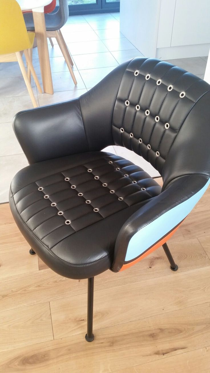 Racing car chair, bought at Le Mans in June, aston martin 007 gulf colours