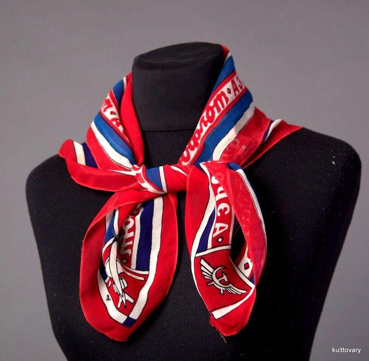 ussr aeroflot  АЭРОФЛОТ vintage Soviet airlines stewardess uniform scarf shawl  #aeroflot