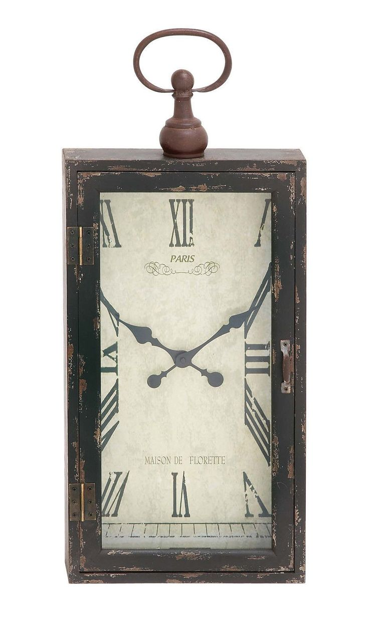 Black Shabby Distressed French Country Cottage Wood Metal Wall Clock Home Decor