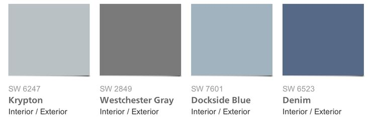 [Sherwin-Williams Pottery Barn paint collection] Window treatments in denim, walls in krypton