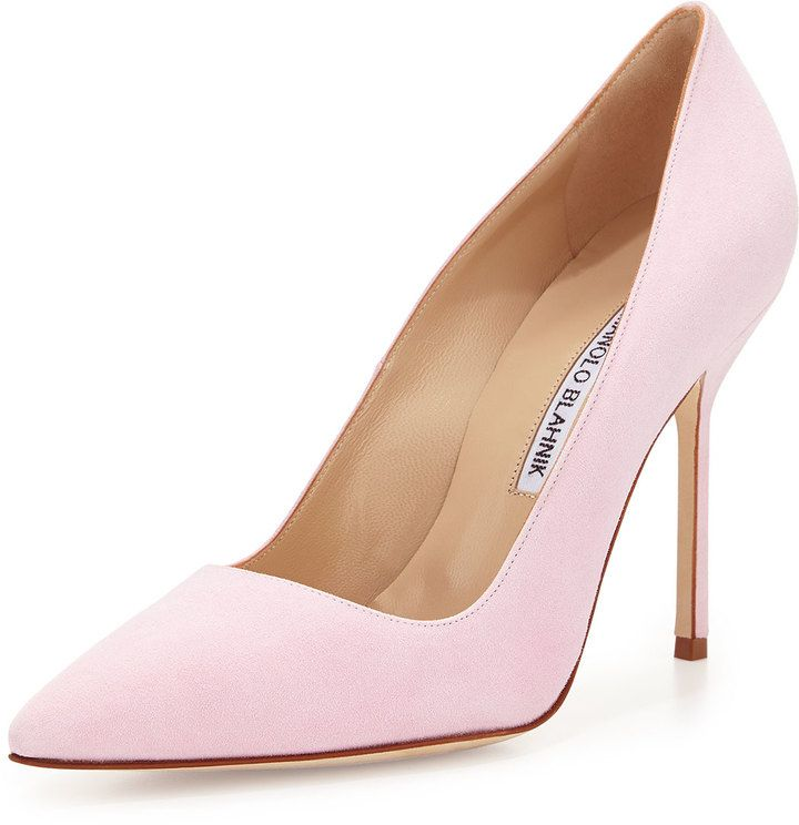 $595, Bb Suede 105mm Pump Light Pink by Manolo Blahnik. Sold by Neiman Marcus. Click for more info: http://lookastic.com/women/shop_items/147660/redirect