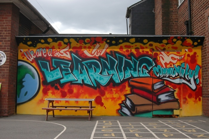 We are a learning community aerosolarabic mural uk for Education mural