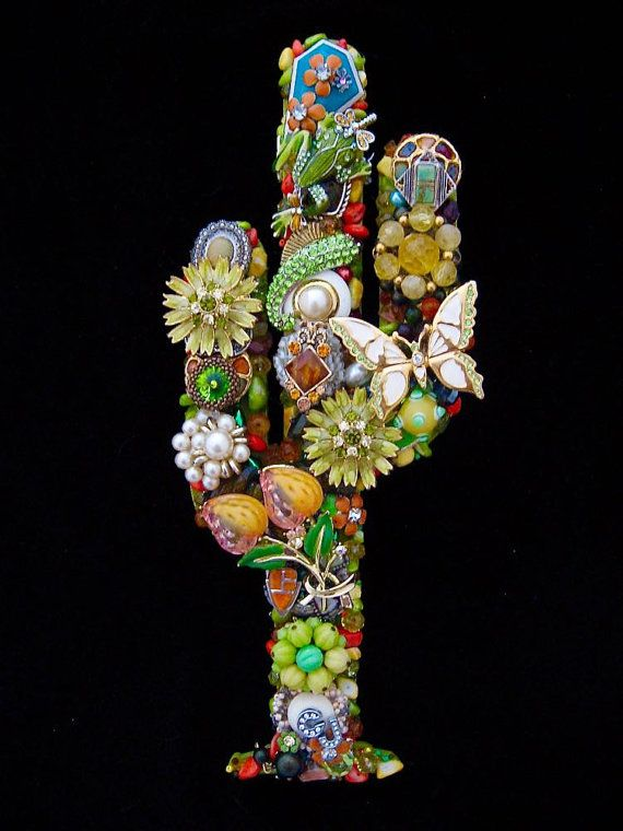 """Use jewellery in mosaic work. Southwestern Cactus Vintage Jewelry Art by ArtCreationsByCJ. Repurposed costume jewellery """"high quality vintage jewelry wall art / home decor & accessories. I make my creations by re-purposing classic and signed vintage jewelry such as Coro, Trifari, Lisner and Monet. I use many types of jewelry including turquoise, Mother of Pearl, hematite, glass, enamel, rhinestones, crystals, freshwater pearls, abalone, polished stone and more. No two are ever alike"""""""