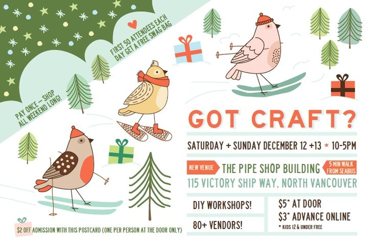 Holiday 2015 Got Craft? postcard Dec 12+13 in Vancouver (BC) | design by The Beautiful Project
